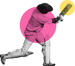 A cricketer with a pink and yellow circle over them