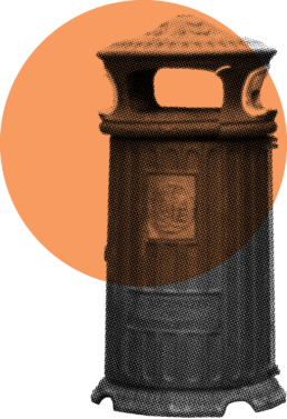 A bin with an orange circle over it