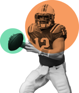 An American footballer holding the ball with an orange and green circle over him